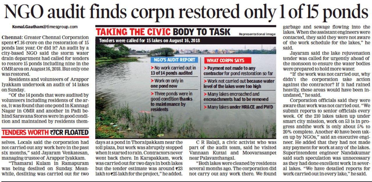 Status of Ponds in Chennai Corporation