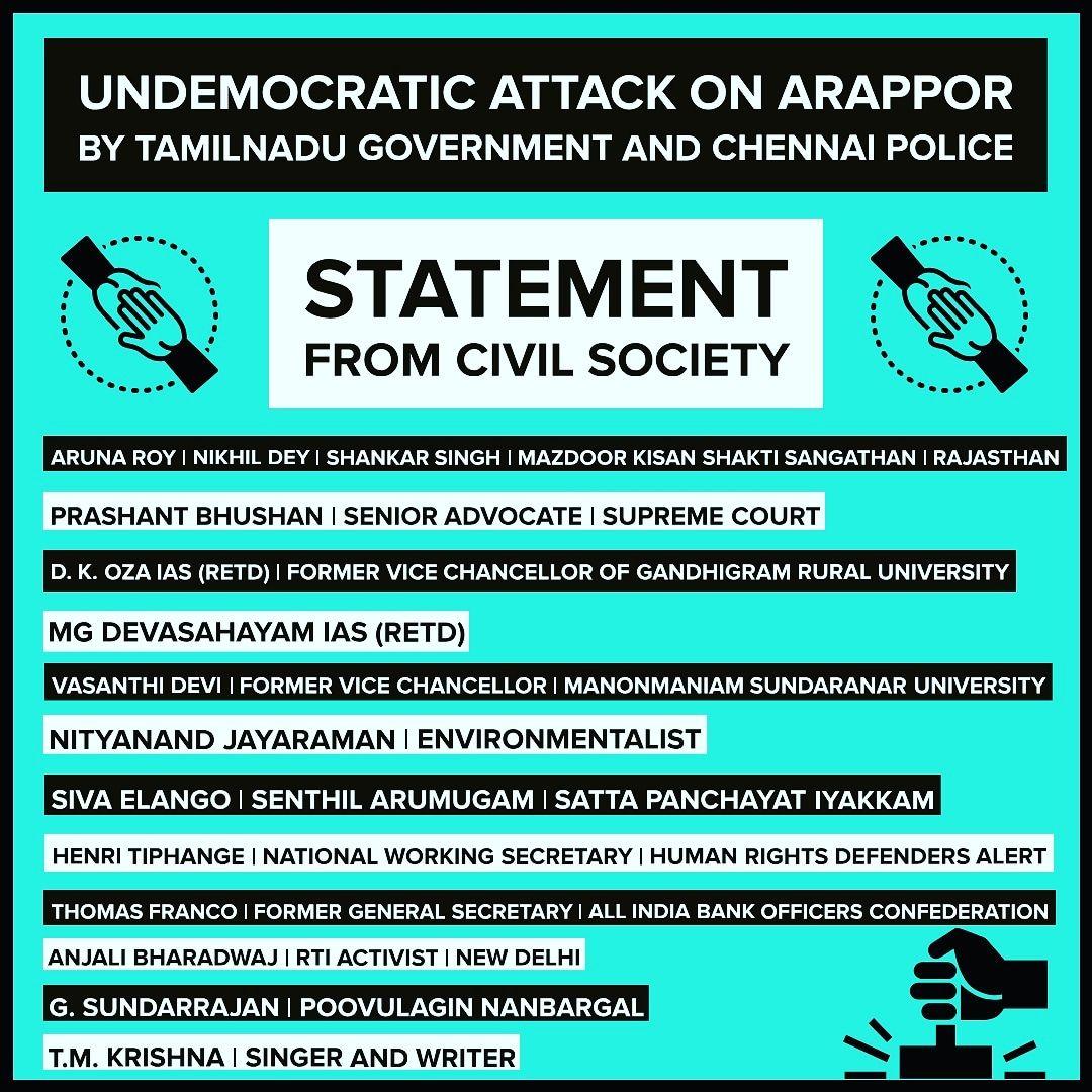 Undemocratic attack on Arappor Iyakkam