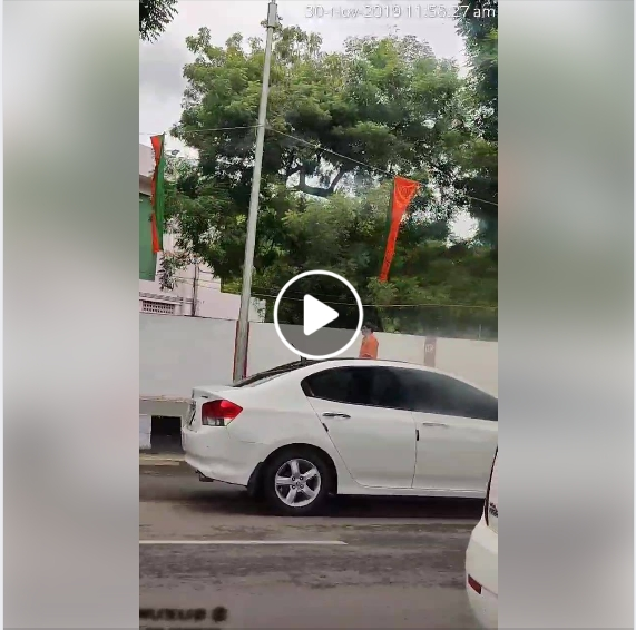 BJP hangs Party flags on ropes