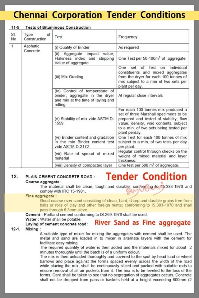 Chennai Corporation Tender Conditions for Sand used (River Sand)